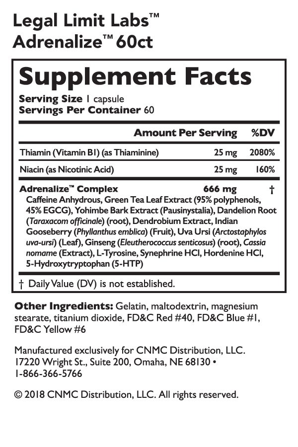 Legal Limit Labs Adrenalize -Nutrition Facts
