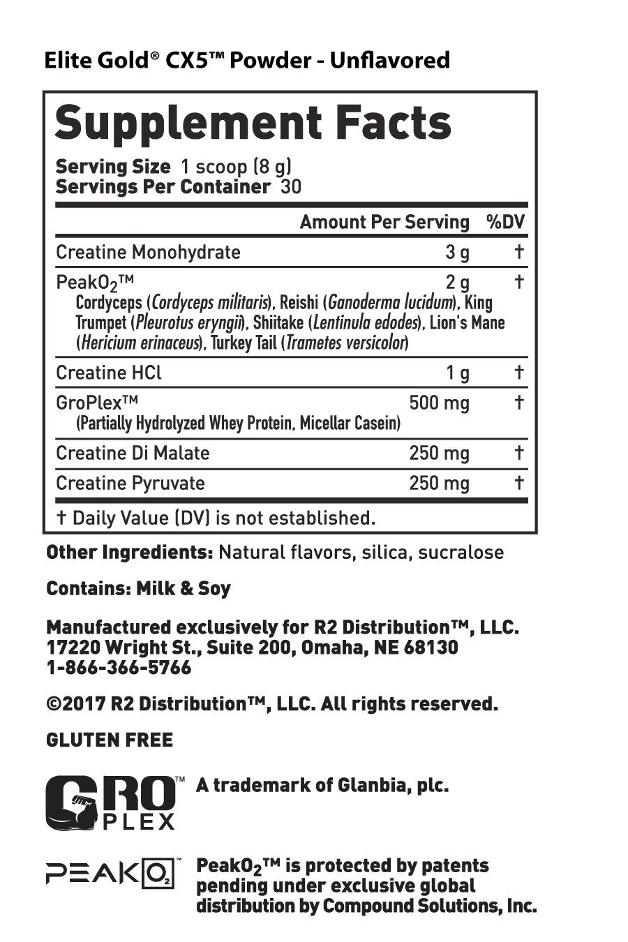 Elite Gold CX5 -Nutrition Facts