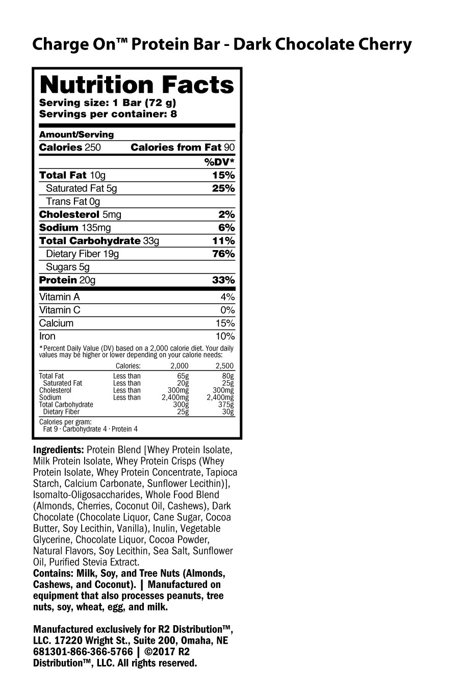Charge On Protein Bar -Nutrition Facts