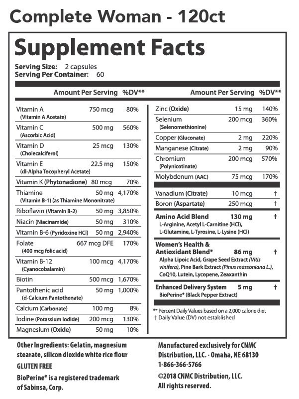 Complete Woman Multivitamin -Nutrition Facts