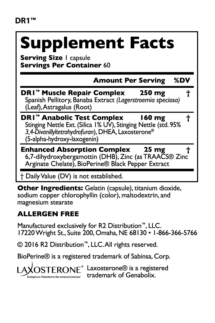 Legal Limit Labs DR1 -Nutrition Facts