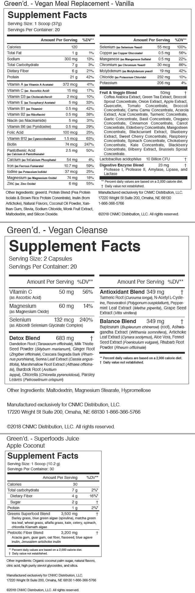 green'd. Plant Based Daily Health System -Nutrition Facts