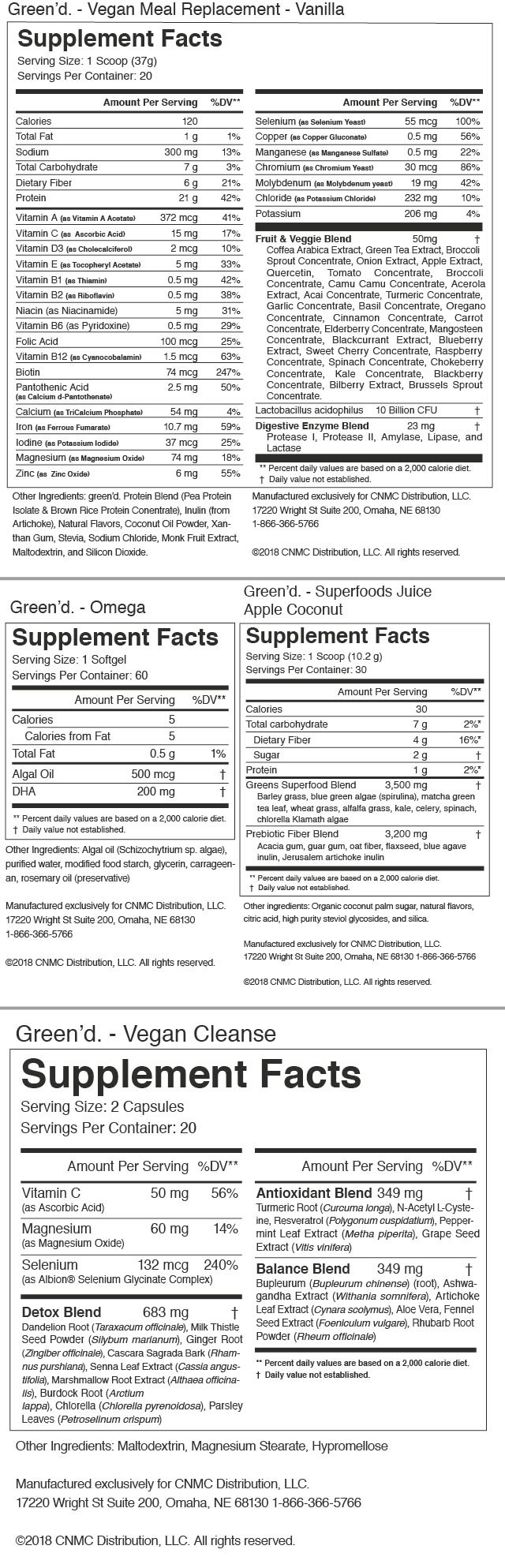green'd. Plant Based Weight Loss System -Nutrition Facts