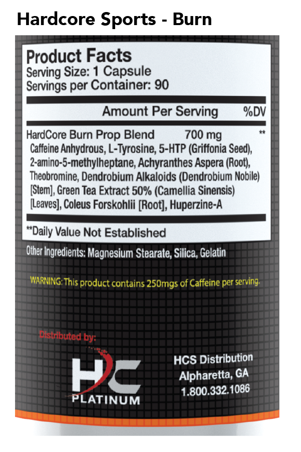Hardcore Sports Burn -Nutrition Facts