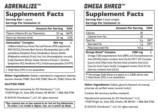 Legal Limit Labs Shred Stack -Nutrition Facts