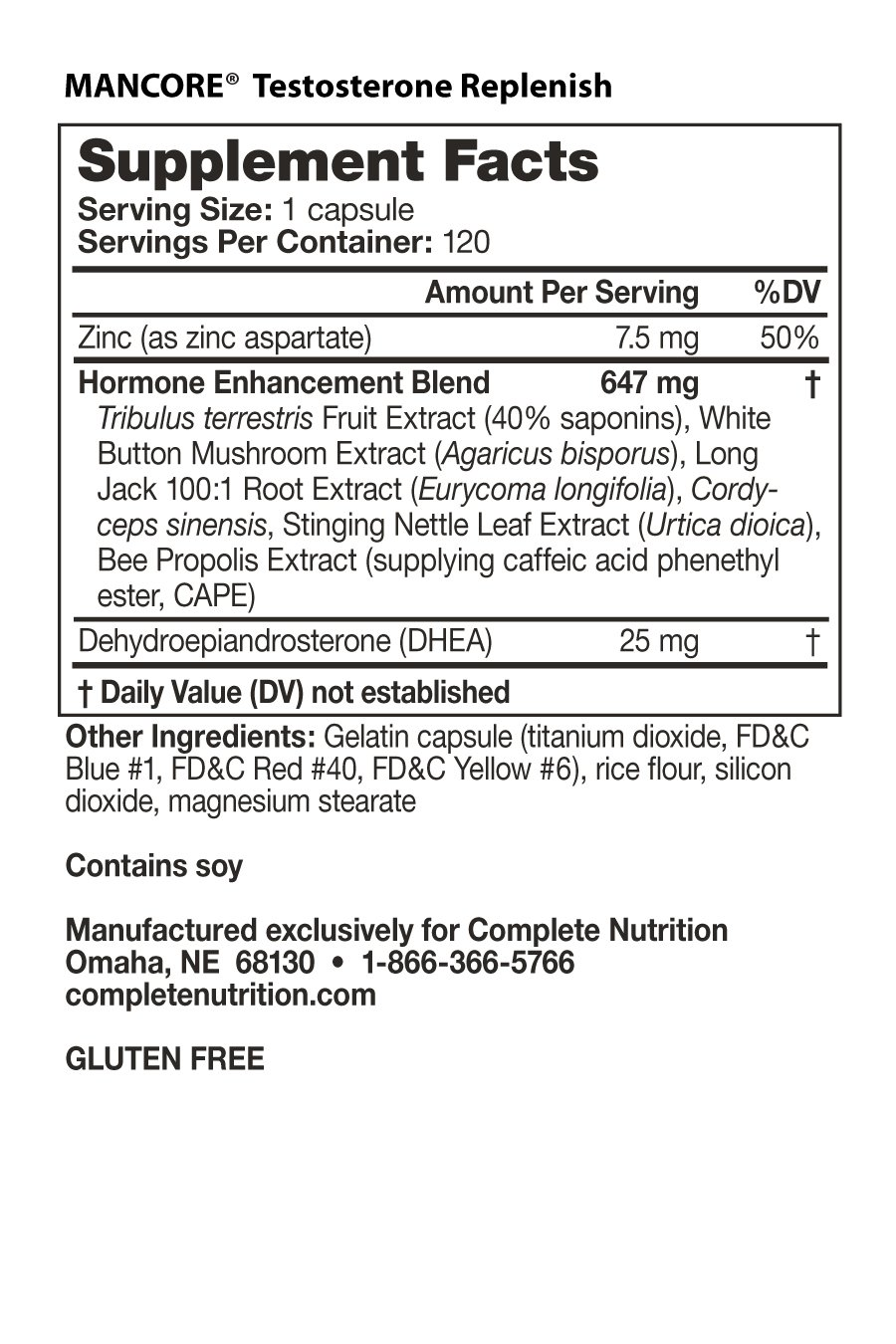 Mancore 2-Pack - Nutrition Facts