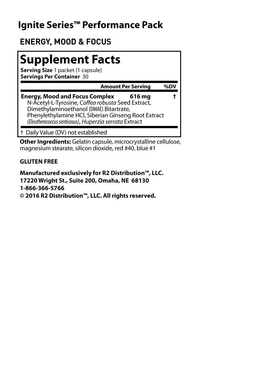 Ignite Performance Packet - Nutrition Facts