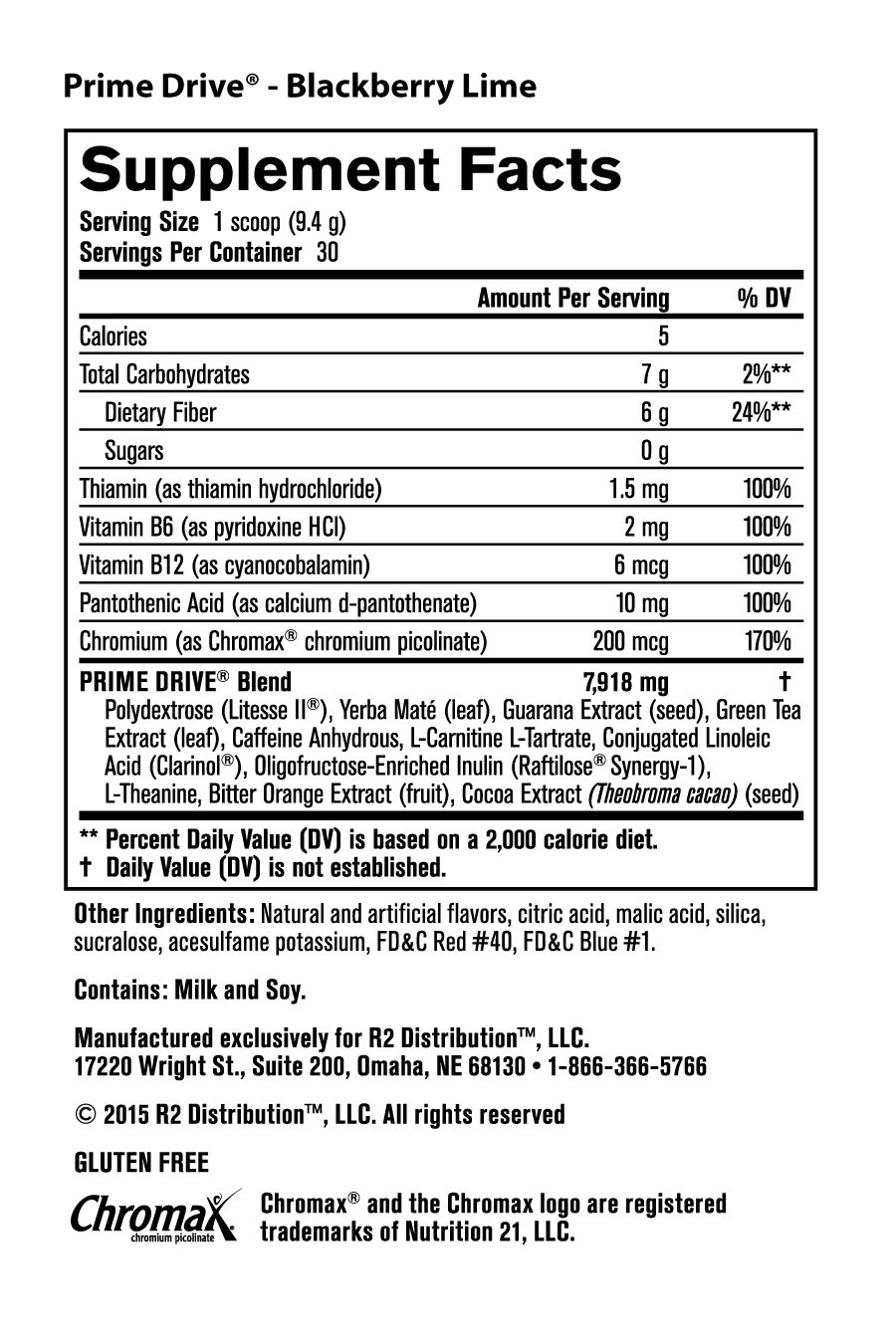 Prime 24-Hour Energy Pack - Nutrition Facts