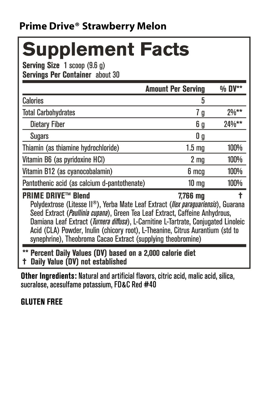 Prime Drive -Nutrition Facts