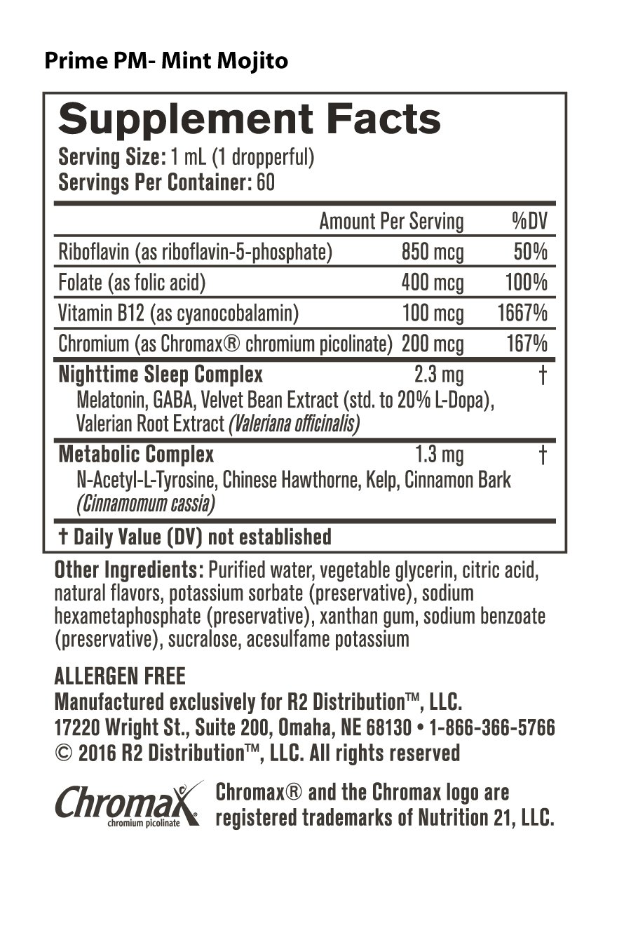 Prime PM -Nutrition Facts