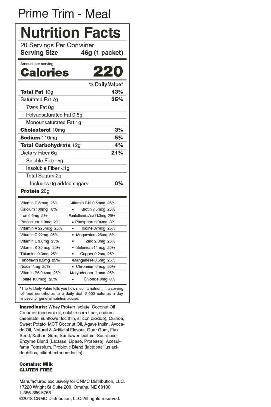 Prime Trim MEAL -Nutrition Facts