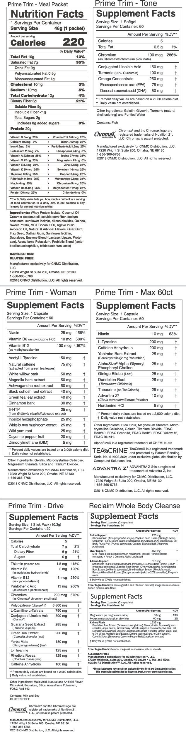 Prime Trim Complete 30 Day System + FREE Cleanse & Shaker Cup -Nutrition Facts
