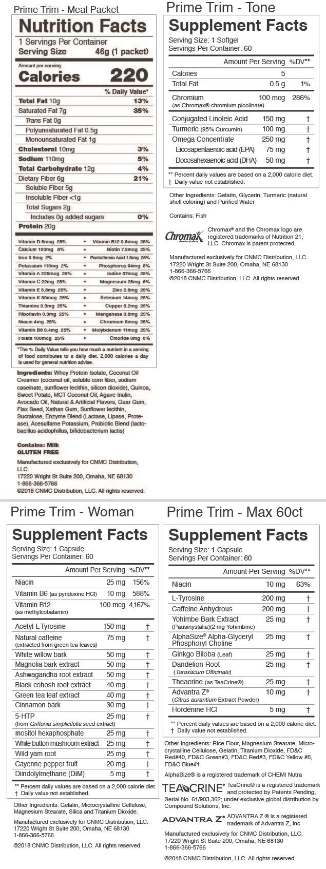 Prime Trim Weight Management Kit -Nutrition Facts