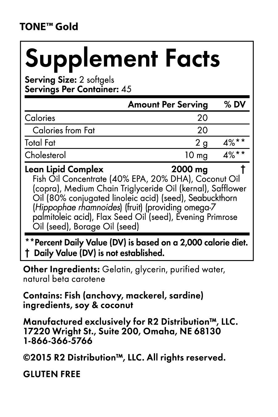 Tone Gold -Nutrition Facts